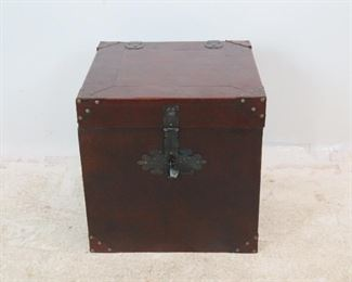 """ITEM 255--- Decorative Leather trunk, some nicks and scratches. 21"""" wide, 20"""" deep, 19.75"""" high. $40.00"""