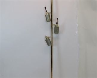 "ITEM 258--- MCM pole lamp, AS IS  missing 1 wood handle, spring mechanism detached. 91.5"" high. $40.00"