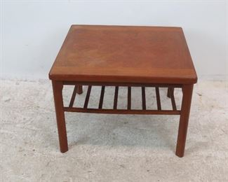 """ITEM 257-- Danish teak table made in Denmark by Toften.   slat repaired, surface stains, uneven.  27.5"""" wide, 25.5"""" deep, 20"""" high. $100.00"""