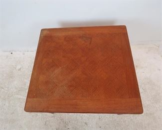 Danish teak table made in Denmark by Toften.   slat repaired, surface stains, uneven.  PIC 2