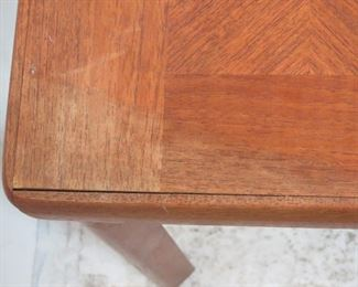 Danish teak table made in Denmark by Toften.   slat repaired, surface stains, uneven.  PIC 4