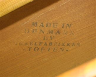 Danish teak table made in Denmark by Toften.   slat repaired, surface stains, uneven. PIC 3