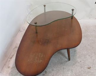 MCM boomerang style coffee table, chips on glass, surface marks, stains.   PIC 2