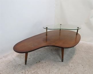MCM boomerang style coffee table, chips on glass, surface marks, stains. PIC 4