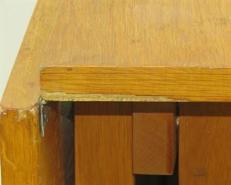 MCM dropleaf folding table. Has some chips, veneer loss, scratches. PIC 4