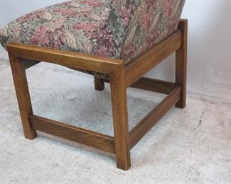 Frank Lloyd Wright style square wood frame, pair of upholstered chairs.  PIC 4