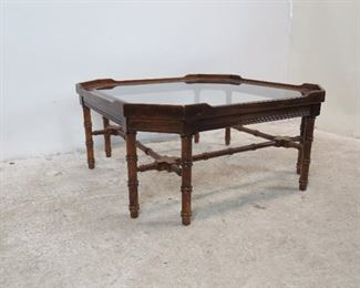 Lane faux bamboo and beveled glass coffee table. minor surface marks. PIC 2