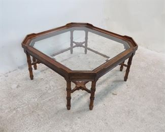 """ITEM-270-- Lane faux bamboo and beveled glass coffee table. minor surface marks.  33.75"""" wide, 33.75"""" long, 15.75"""" high.  $350.00"""