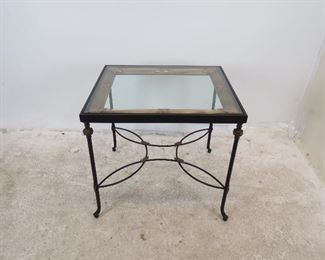 """ITEM- 271-- Metal """"picture frame"""" beveled glass top table w/ gilt metal accents. 28.25"""" wide, 24"""" deep, 26.5"""" high. $250.00"""