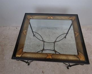 """Metal """"picture frame"""" beveled glass top table w/ gilt metal accents. PIC 2"""