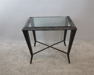 """ITEM--273-- Brutalist style molded metal glass top table [wear to finish].  27.75""""wide, 23"""" deep, 24"""" high. $125.00"""