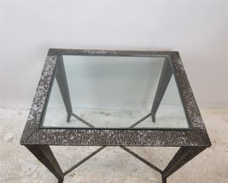 ITEM--273-- Brutalist style molded metal glass top table [wear to finish]. PIC 2