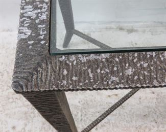 ITEM--273-- Brutalist style molded metal glass top table [wear to finish]. PIC 3
