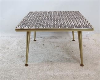 """ITEM-- 274-- MCM tile top table with brass edging and feet.  24"""" x 24"""" , 15.25"""" high.  $275.00"""