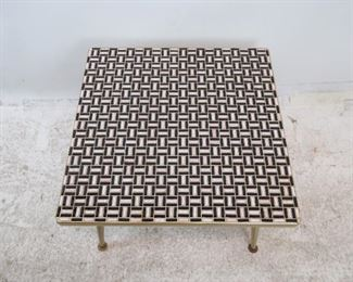 ITEM-- 274-- MCM tile top table with brass edging and feet.  PIC 2