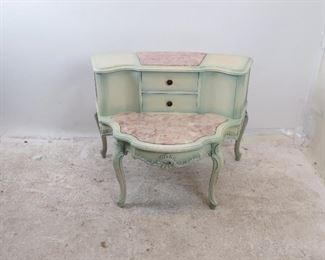 """ITEM-275- Provincial 2 tier marble top table. { some paint loss].  36"""" wide, 28"""" deep, 26"""" high. $125.00"""
