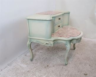 ITEM-275- Provincial 2 tier marble top table. { some paint loss].  PIC 3