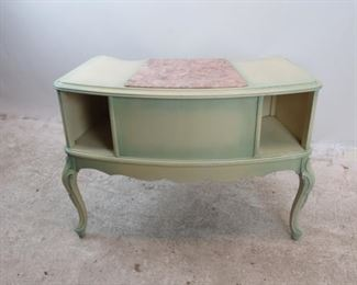 ITEM-275- Provincial 2 tier marble top table. { some paint loss].  PIC 4