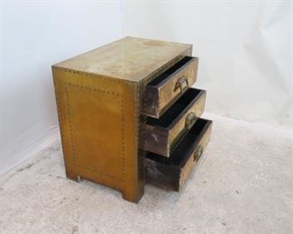 ITEM-276--Sarreid Spain hollywood regency 3 drawer brass chest. [slight brass lifting at corners, brass color shading].  PIC 2