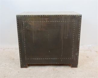 ITEM-276--Sarreid Spain hollywood regency 3 drawer brass chest. [slight brass lifting at corners, brass color shading]. PIC 3