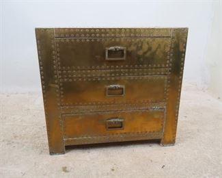"ITEM-276--Sarreid Spain hollywood regency 3 drawer brass chest. [slight brass lifting at corners, brass color shading]. 24"" wide, 18"" deep plus 1"" handles, 22"" high $375.00"