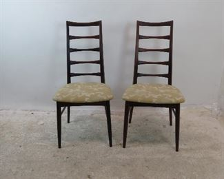 """ITEM-278-- Pair of Neils Koefoed rosewood Danish modern ladder back chairs.[has Fabric stains}. 18.5"""" w,20"""" d, 37.25"""" high. height to seat 17"""" $650.00"""