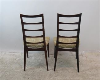 ITEM-278-- Pair of Neils Koefoed rosewood Danish modern ladder back chairs.[has Fabric stains} PIC 2