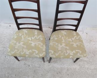 ITEM-278-- Pair of Neils Koefoed rosewood Danish modern ladder back chairs.[has Fabric stains} PIC 4
