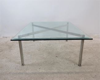 ITEM 10 --High quality Steel and beveled glass coffee table. PIC 4