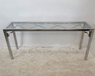 ITEM-280- MCM chrome glass top console table[chip on glass, scratches, chrome pitting]. PIC 2