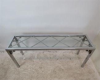 """ITEM-280- MCM chrome glass top console table[chip on glass, scratches, chrome pitting]. 59"""" long, 15"""" wide , 26.25"""" high. $125.00"""