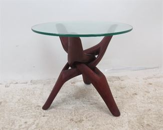 """ITEM 281-Adrian Pearsall style glass top stand with folding base. 20"""" diameter top,17.5"""" high  $175.00"""