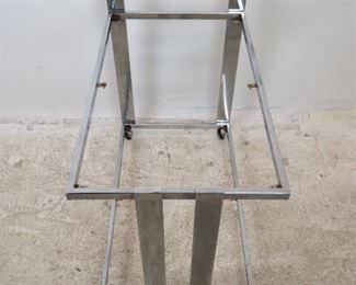 ITEM-282--Milo Baughman style chrome bar / serving cart on wheels. [MISSING glass  Shelves, surface , rust on shelf holder].  PIC 2