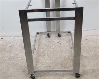 ITEM-282--Milo Baughman style chrome bar / serving cart on wheels. [MISSING glass  Shelves, surface , rust on shelf holder].  PIC 4
