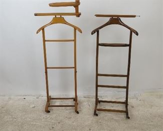 """ITEM-284- 2 MCM wooden valets, 18.5"""" w,13.5""""d,47"""" h, 18"""" w, 15"""" d, 41.75"""" h, missing hook, small chip. $60.00"""