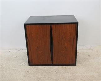 """ITEM 286-Rosewood front hanging cabinet, comes with wood slat in back to hang.  has scuffs and scratches. 26"""" wide, 18"""" deep, 24"""" high  $250.00"""