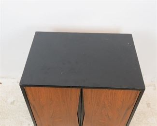 ITEM 286-Rosewood front hanging cabinet, comes with wood slat in back to hang.  has scuffs and scratches. PIC 2