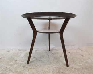 ITEM-288-- MCM 2 tier glass and laminate top table.  PIC 2