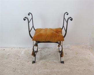 "ITEM- 290-- hollywood regency style savonarola iron bench. [cushion stains]. 28"" wide, 16.75"" deep, 24"" high. 17"" to seat. $150.00"