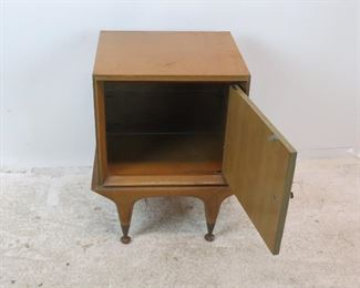 .ITEM-292--MCM nightstand w/ sculpted door and glass shelf.[surface marks]  PIC 2