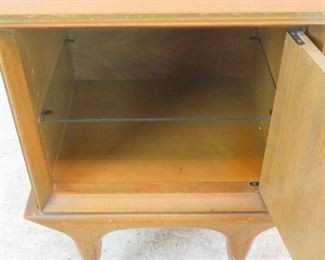 ITEM-292--MCM nightstand w/ sculpted door and glass shelf.[surface marks] PIC 3