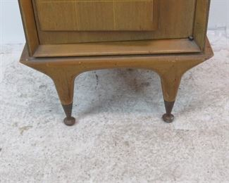 ITEM-292--MCM nightstand w/ sculpted door and glass shelf.[surface marks]  PIC 4