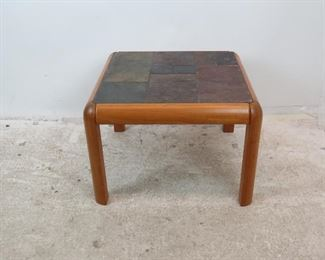 "ITEM- 294-- Danish modern teak and slate top table, Gangso Mobler Denmark. 26.5"" wide, 26.5"" deep, 18.75"" high $75.00"