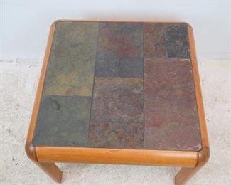 ITEM- 294-- Danish modern teak and slate top table, Gangso Mobler Denmark. PIC 3