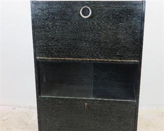 "ITEM-296-- Cerused oak ebony standing bar cabinet w/ sliding glass doors.[missing 1 glass door 16"" x12""]. 31.25"" w, 15.75"" deep, 46.5"" high. $550.00"