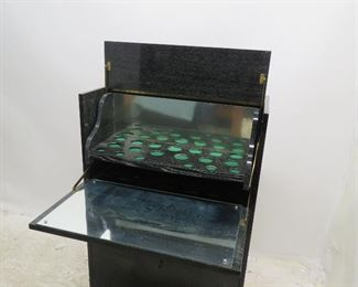 "ITEM-296-- Cerused oak ebony standing bar cabinet w/ sliding glass doors.[missing 1 glass door 16"" x12""]. PIC 3"