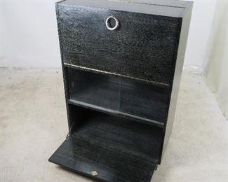 "ITEM-296-- Cerused oak ebony standing bar cabinet w/ sliding glass doors.[missing 1 glass door 16"" x12""]. PIC 5"