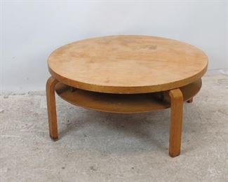 """ITEM -297-- RARE model 70  Aalto Alvar made in Sweden, round 2 tier table. [has surface marks and blemishes]  36"""" diameter, with legs-39""""wide, 16"""" high. $1450.00"""