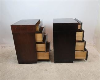 ITEM-299- Pair of MCM mahogany 4 drawer nightstands. [has surface wear] PIC 2