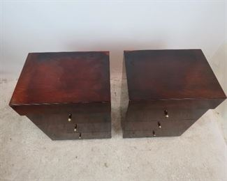 ITEM-299- Pair of MCM mahogany 4 drawer nightstands. [has surface wear] PIC 3